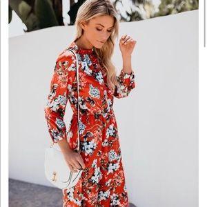 Vici boutique orange midi dress